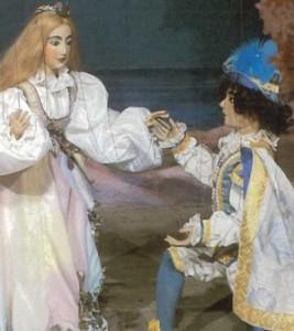 Le marionette di Miranda e Ferdinando ne «La tempesta» dei Colla