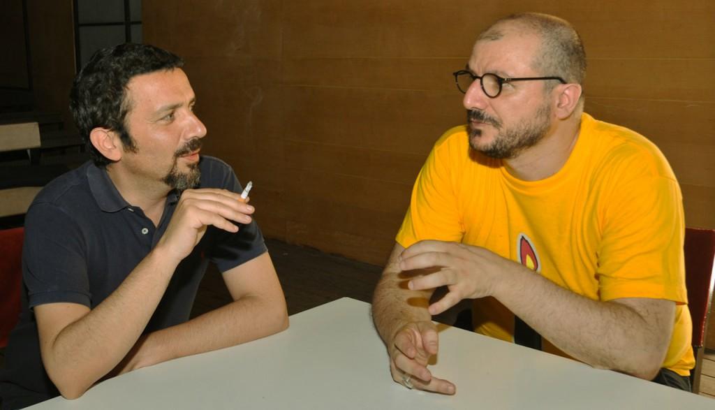 Da sinistra, Andrea De Rosa e Antonio Latella ai tempi della loro collaborazione a Napoli
