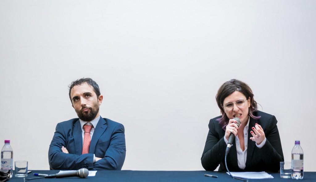 I due «conferenzieri», a sinistra Giuva/Salvini e a destra Lanera/Gadda