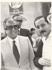 Qui sono con Sergio Bruni all'ingresso del carcere Filangieri  in occasione della visita di Eduardo il 12 ottobre del 1981